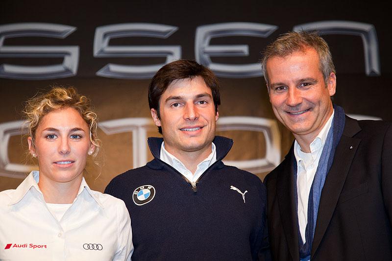 DTM-Pioloten Rahel Frey (Audi) und Bruno Spengler (BMW) mit BMW Motorsportdirektor Jens Marquardt