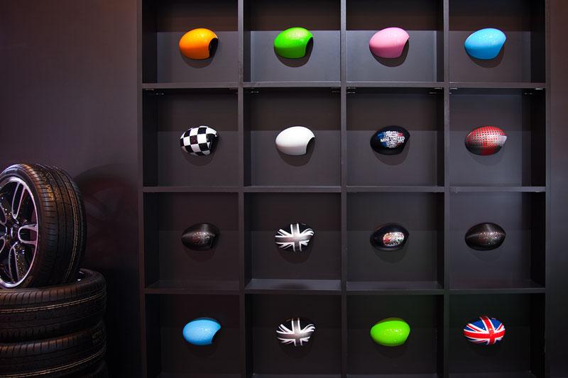 Auswahl an lieferbaren MINI Aussenspiegelklappen zur Individualisierung, Essen Motor Show 2012.