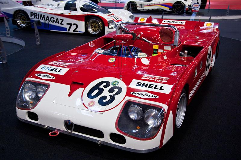 Alfa Romeo T33TT aus dem Jahr 1975, 12-Zylinder, 3.000 cccm, 43O PS, WM-Fahrzeug 1975, Siege: 1000 km Dijon, 1000 km Monza, Fahrer: u. a. Artur Merzario