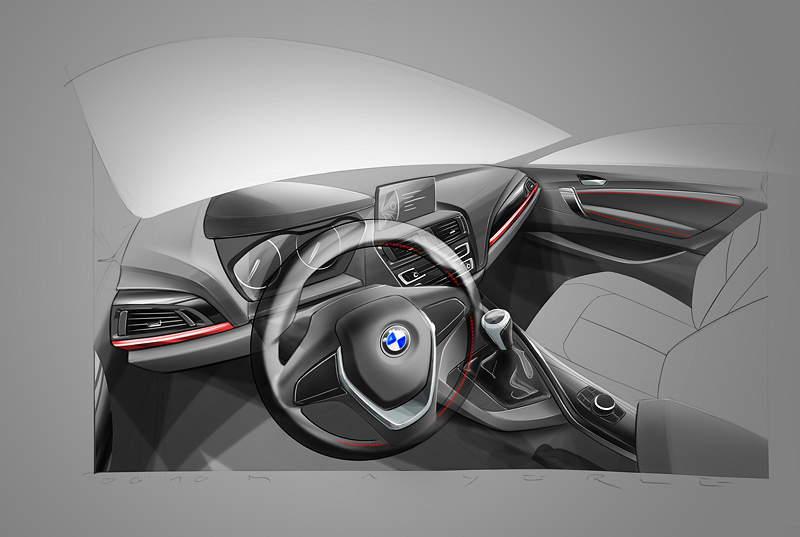BMW 2er Coupé, Designskizze Interieur
