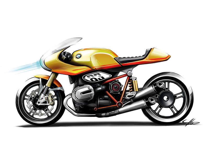 BMW Motorrad. Concept Ninety. Skizze.