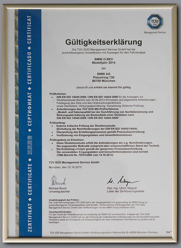 Der BMW i3, ISO-Zertifikat für die Ökobilanz des BMW i3