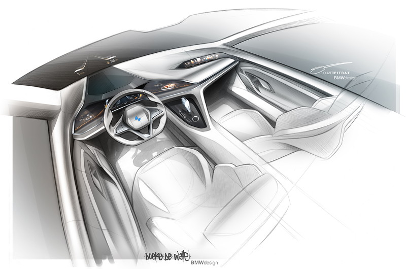 BMW Vision Future Luxury. Skizze. Interieur.
