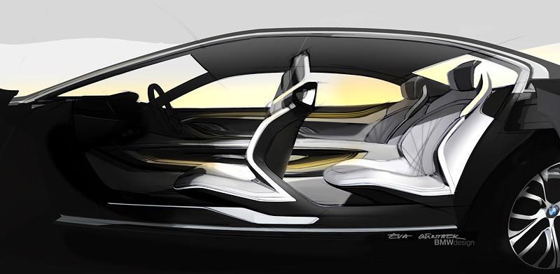 BMW Vision Future Luxury. Skizze. Interieur. Seitenansicht.