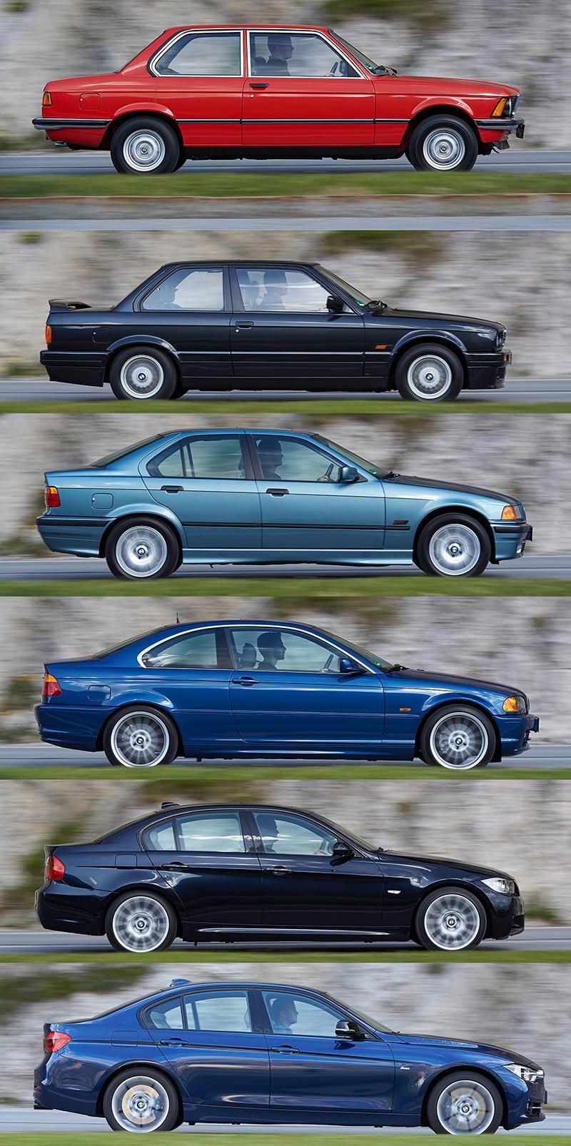 6 Generationen BMW 3er, Seitenansicht