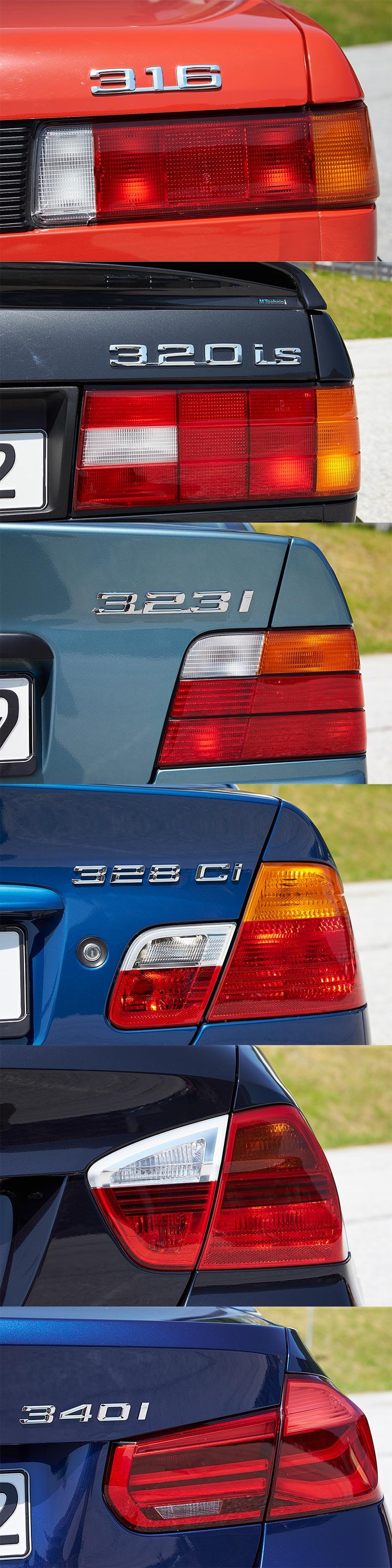 6 Generationen BMW 3er, Typbezeichnung auf der Heckklappe