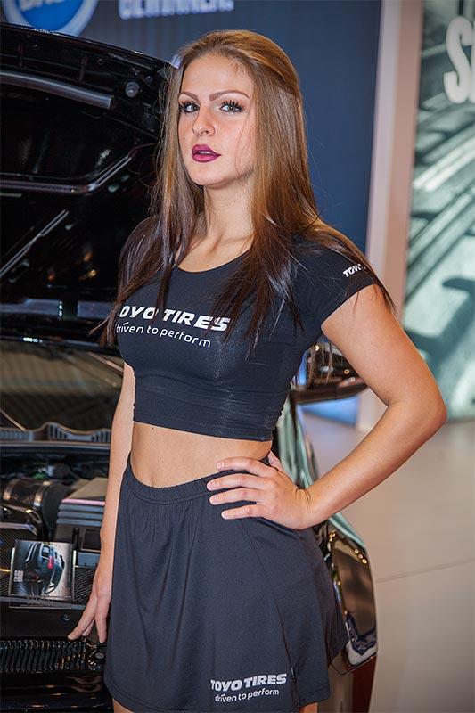 Messegirl auf dem Stand von Toyo Tire Deutschland GmbH, Essen Motor Show 2015