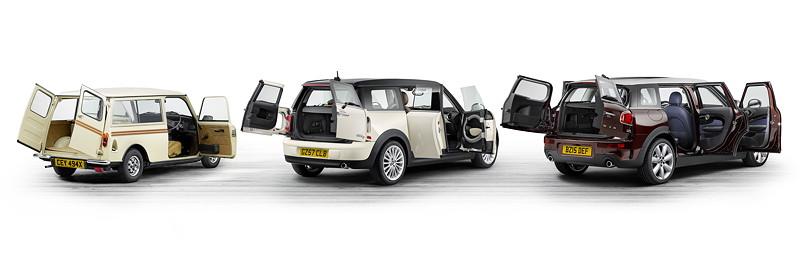 Mini Clubman Estate (1980), MINI Cooper D Clubman (2007), MINI Cooper S Clubman (2015).