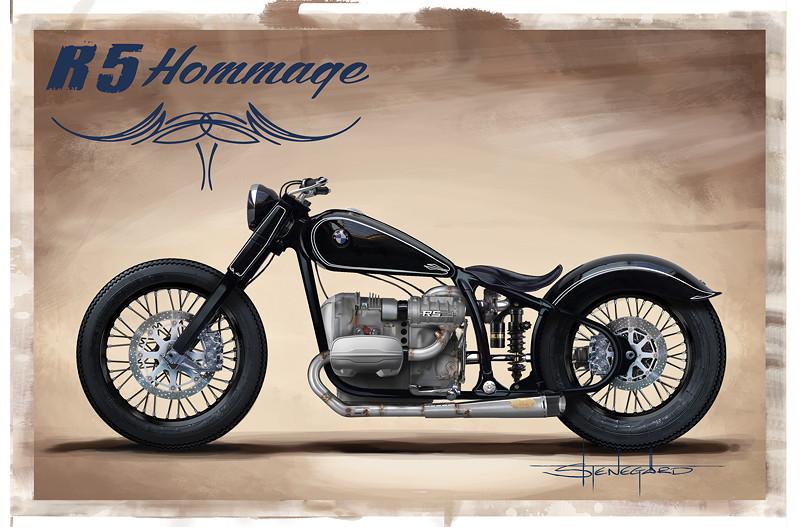 BMW Motorrad R 5 Hommage. Design Skizze.