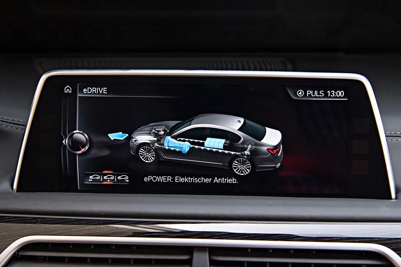BMW 740Le xDrive iPerformance, Bordbildschirm, Anzeige: elektrischer Antrieb