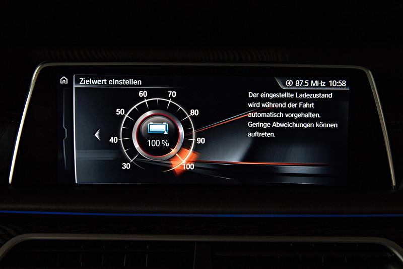 BMW 740Le xDrive iPerformance, Bordbildschirm, Anzeige: Batterie Ladezustand Zielwert, Einstellung im Modus 'Battery Control'