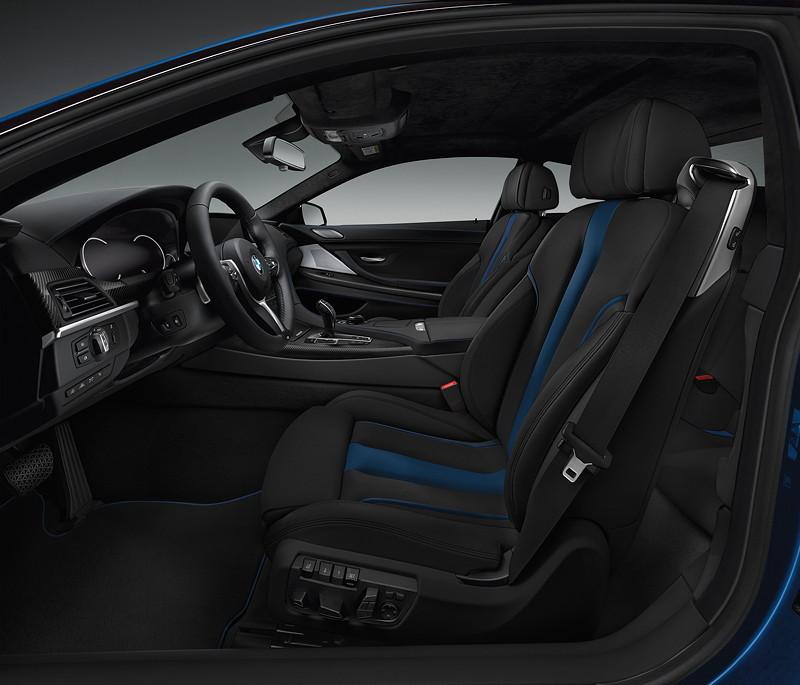 M Sport Limited Edition der BMW 6er Reihe, Komfortsitzen mit BMW Individual Volllederausstattung Merino Feinnarbe in der Variante Schwarz/Fjordblau