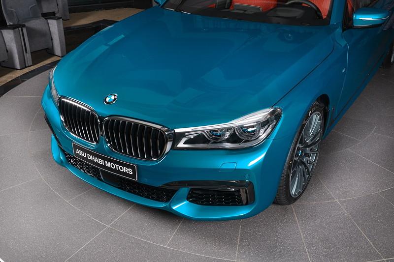 BMW 750Li (G12) xDrive in Atlantis Blau, mit Laserlicht (1.200 Euro Aufpreis).