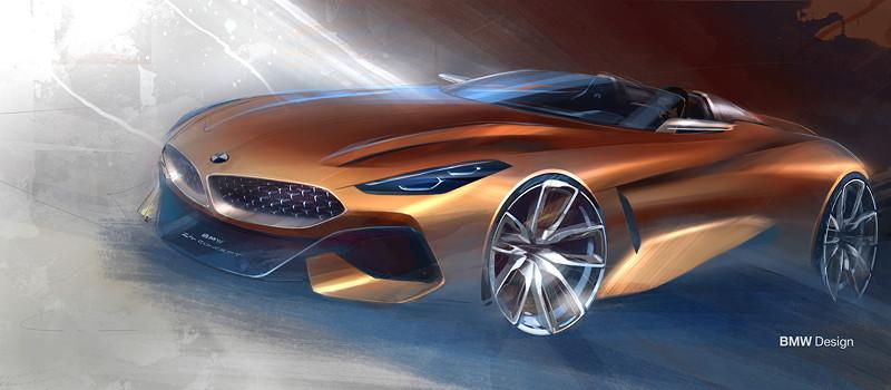 BMW Concept Z4. Designskizzen Exterieur.