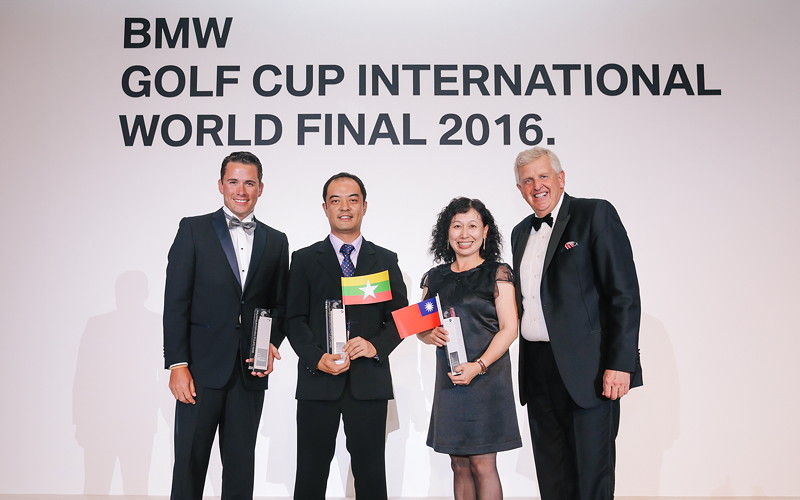 BMW Golf Cup International Weltfinale 2016 in Dubai. Felipe Olvera, Htun Htun Soe, Tsung Hui Lee, Colin Montgomerie.