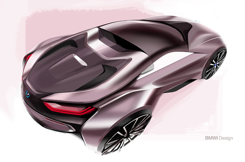 Der neue BMW i8 Roadster - Design Skizze.