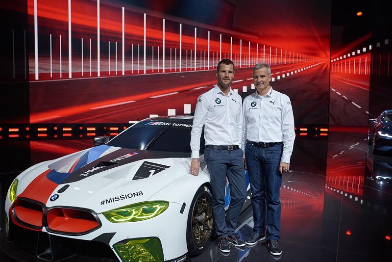 BMW Motorsport Pressekonferenz, IAA, BMW M8 GTE, Martin Tomczyk, BMW Motorsport Direktor Jens Marquardt.