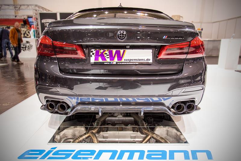 Essen Motor Show 2017: BMW M550i mit PU Dachkantenspoiler von 3DDesign und Eisenmann Prototyp Abgasanalge.