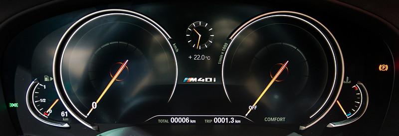 BMW X3 xDrive M40i, Tachoinstrumente, hier als Multifunktionales Instrumentendisplay (390,- Euro Aufpreis)