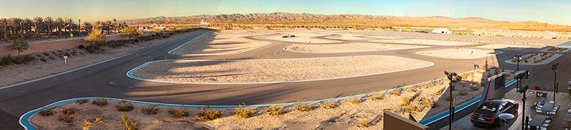 Panorama-Foto des BMW Driving Center West, aufgenommen während der Presse-Präsentation des BMW M760Li