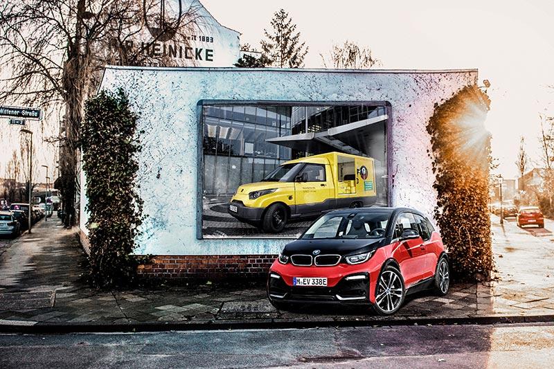 BMW i Batterien auch für den Streetscooter der Deutschen Post (Foto-Montage)