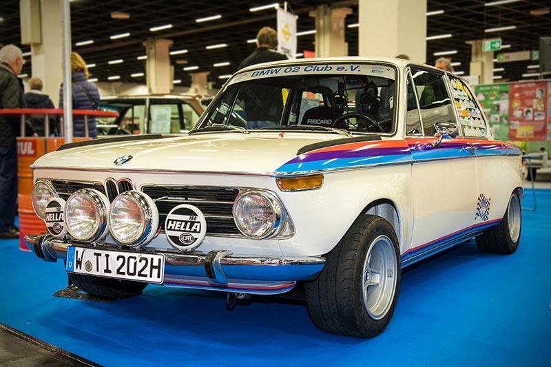 Retro Classics Cologne 2017: BMW 2002 ti Rallye von Dietmar Heinen, Baujahr 1971, 4-Zyl.-Motor, 170 PS, vmax: 210 km/h, Gewicht: 970 kg