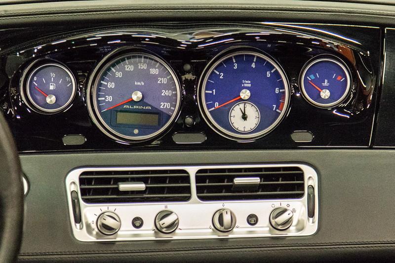 Retro Classics Cologne 2017: BMW Alpina, Tacho-Instrumente in der Mittelkonsole.