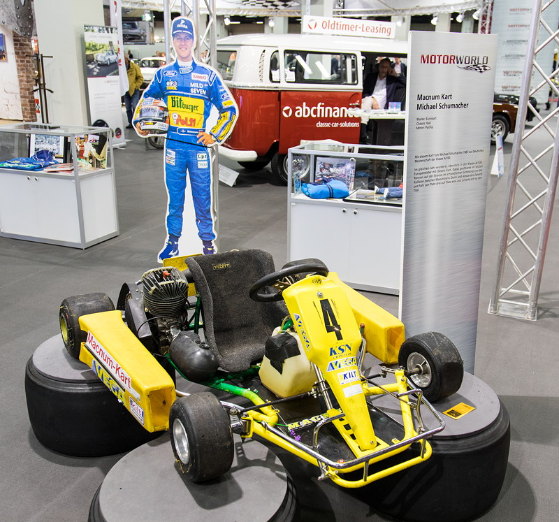 Retro Classics Cologne 2017: die Motor World präsentiert die 'Michael Schumacher Private Collection', u. a. mit einem Kart.