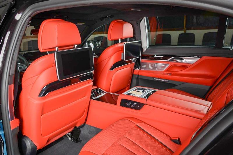 BMW 730Li mit BMW Individual Merino Voll-Leder Ausstattung in Fiona rot und Executive Lounge inkl. Fond Entertainment Experience