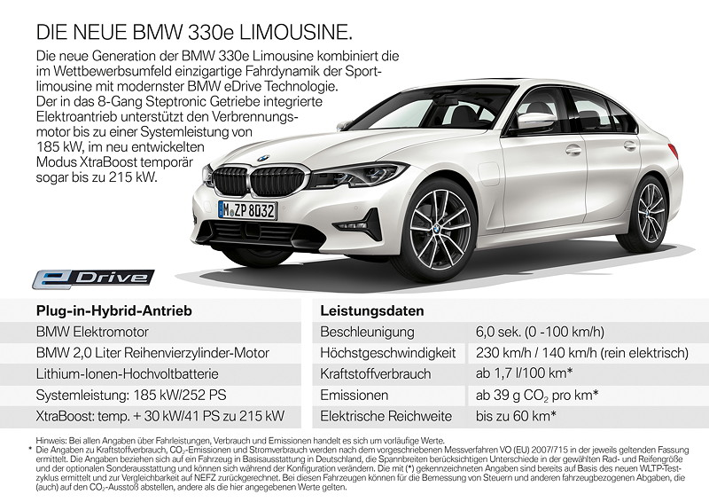 BMW 330e Limousine, Highlights