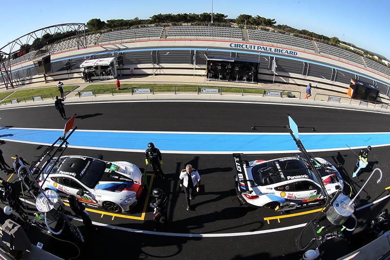 Le Castellet (FRA), 06.04.2018. BMW Motorsport, FIA WEC Prolog. BMW M8 GTE Nr. 81 und Nr. 82 in der Box im Rahmen von Testfahrten.