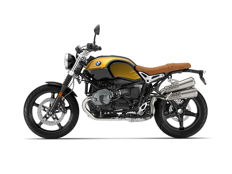 BMW R nineT Scrambler, BMW Motorrad Spezial: Option 719 Blackstorm metallic / Aurum.