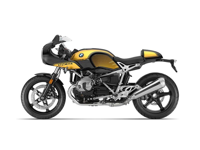 BMW R nineT Racer, BMW Motorrad Spezial: Option 719 Blackstorm metallic / Aurum.