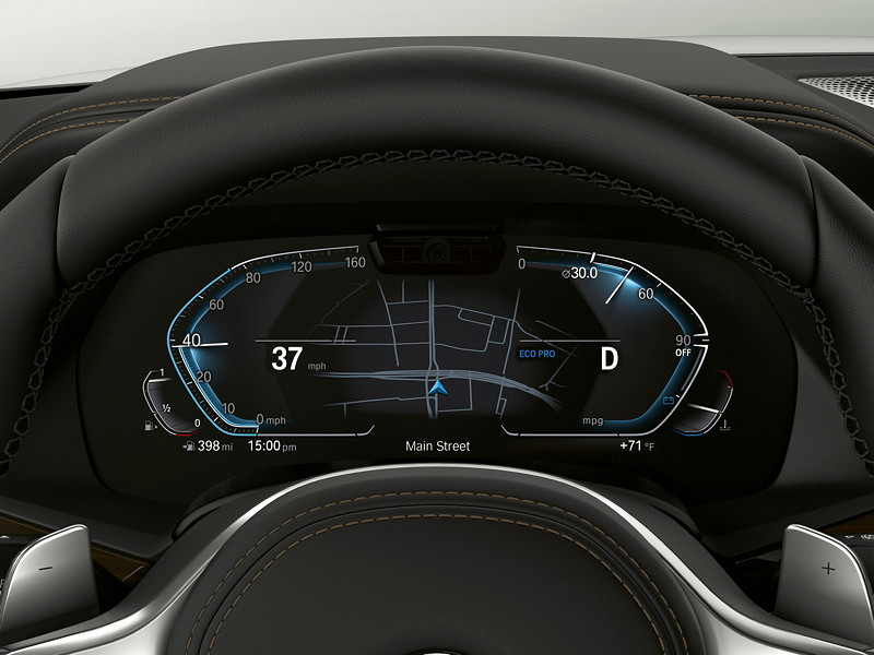 BMW Operating System 7.0 - Tacho im Eco Modus.