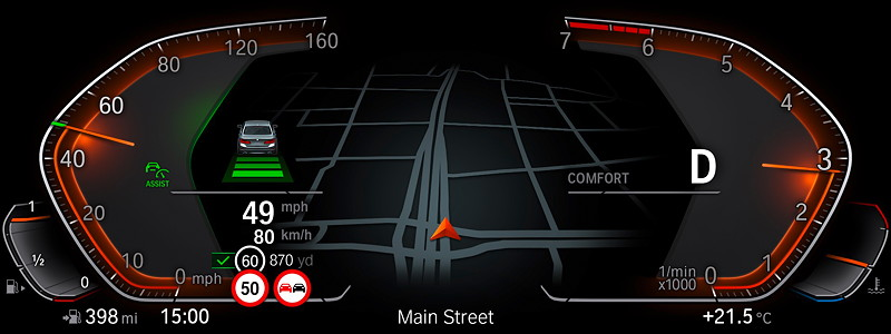 BMW Operating System 7.0 - Driving Assistant.