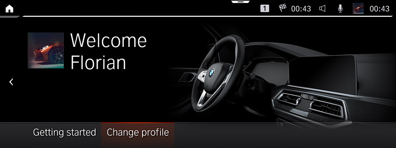BMW Operating System 7.0 - Willkommens-Bildschirm.