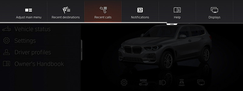 BMW Operating System 7.0 - Bildschirm Schnellwahltasten.