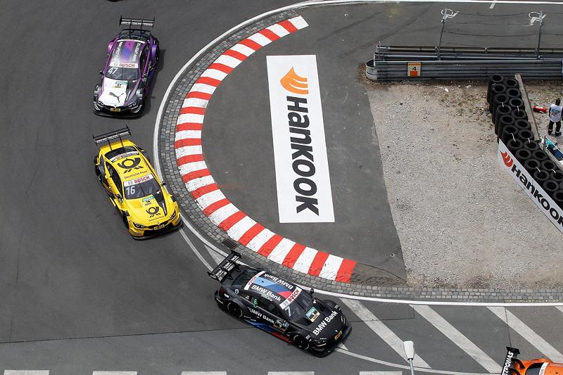 Norisring, 23.06.2018, DTM Rennen 7, Bruno Spengler (CAN) im BMW Bank M4 DTM, Timo Glock im DEUTSCHE POST BMW M4 DTM und Joel Eriksson (SWE) im BMW M4 DTM.