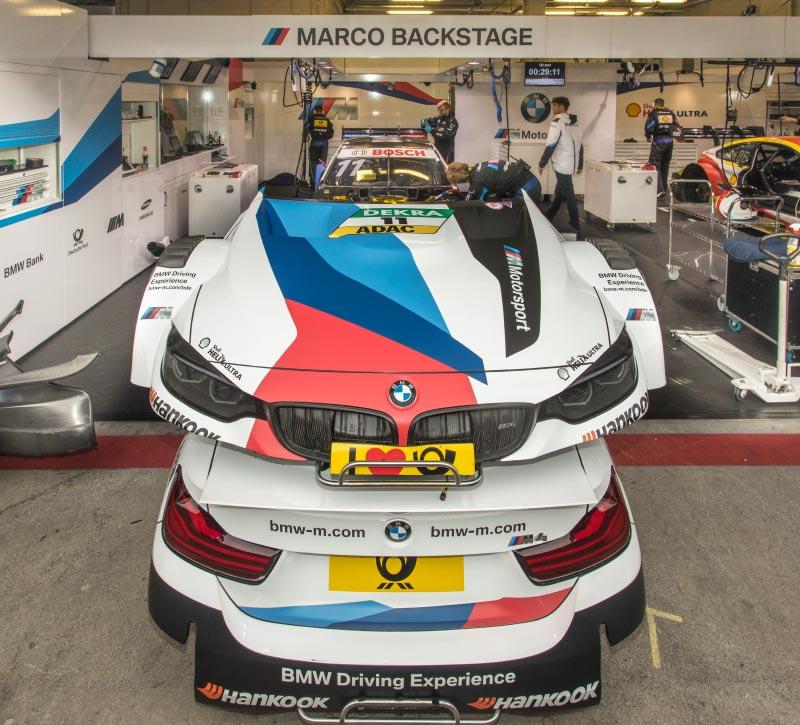 DTM in Spielberg, 23.09.2018. Box vom BMW Team RMG mit dem BMW Driving Exprience BMW M4 DTM von Marco Wittmann.