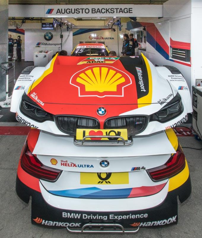 DTM in Spielberg, 23.09.2018. Box vom BMW Team RMG mit dem Shell BMW M4 DTM von Augusto Farfus.