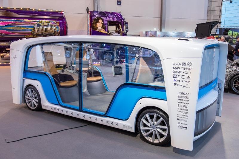 Essen Motor Show 2018, futuristisches Concept Car vom Schweizer Frank Rinderknecht: Rinspeed Snap, vollelektrisch und autonom