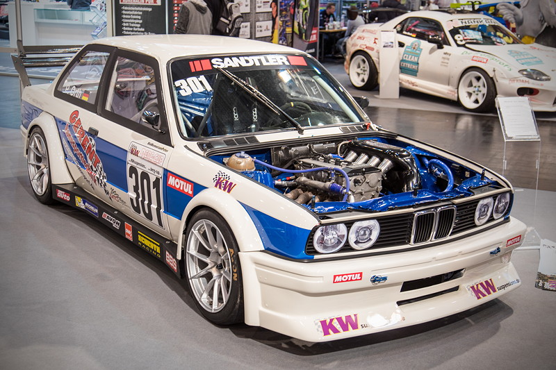Essen Motor Show 2018: BMW 320is (E30), aufgebaut nach Gruppe H/E1 Berg Reglement, Achsen Stand DTM Johnny Cecotto