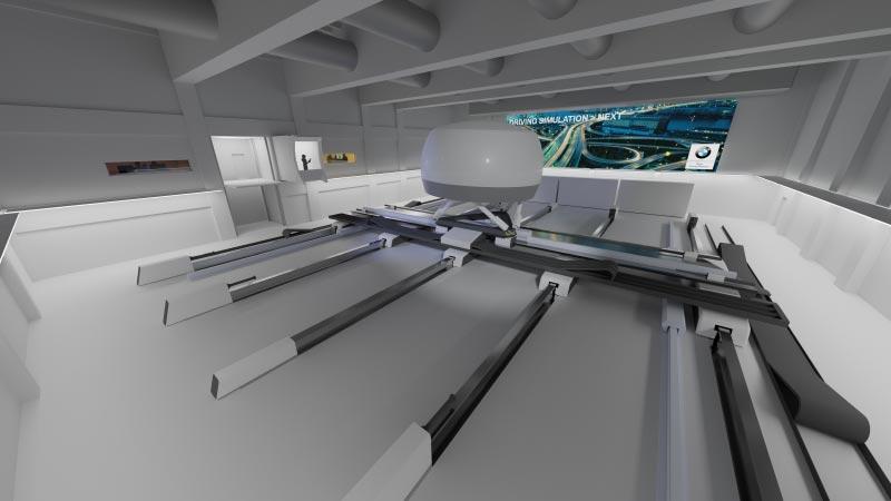 Der High Fidelity Simulator kann Längs-, Quer- und Drehbewegungen eines Fahrzeugs gleichzeitig und damit sehr realitätsnah darstellen.