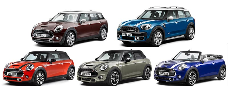 Die aktuellen MINI-Modelle auf einen Blick: MINI Hatch, MINI 5-Türer, MINI Cabrio, MINI Clubman und MINI Countryman