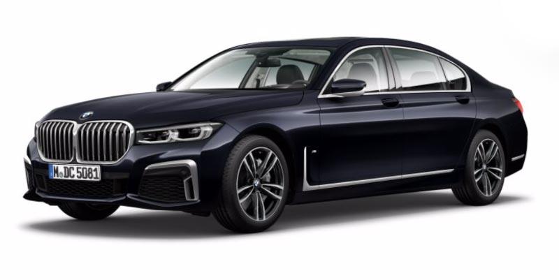 BMW 750Li (G12 LCI) in Carbonschwarz metallic auf 19 Zoll M LMR Doppelspeiche 647 M Bicolor