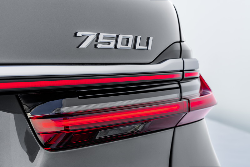 BMW 750Li xDrive (G12 LCI), 3D Rücklicht, Typ-Bezeichnung auf der Heckklappe