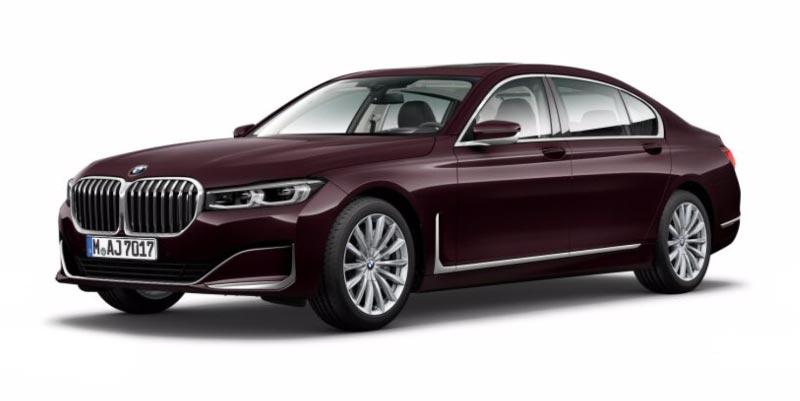 BMW 750Li (G12 LCI) in Royal Burgundi Red Brillanteffekt auf 19 Zoll LMR V-Speiche 620