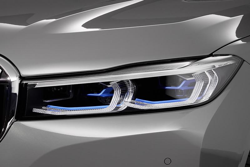 BMW 750Li xDrive (G12 LCI), neue, flachere Scheinwerfer, hier mit optionalem Laserlicht