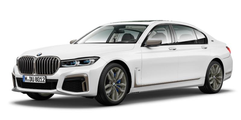 BMW M760Li (G12, Facelift 2019) in alpinweiß, die Fenstereinfassungen sind in schwarz gehalten