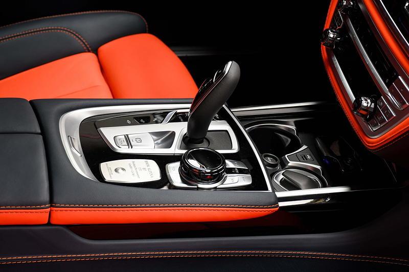 BMW Alpina B7 BiTurbo, Mittelkonsole vorne mit Schalthebel und iDrive Controller
